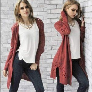 Sweaters - Cardigan With Perforated Design And Open F…